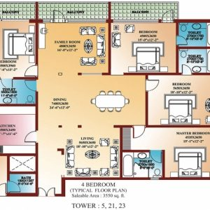 4 Bedroom Flat Floor Plan