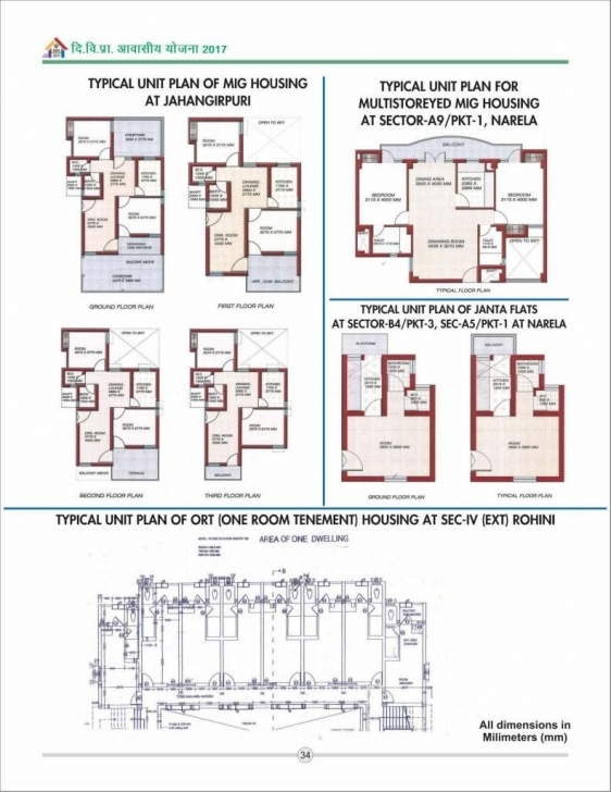 Classy Dda Aawasiya Yojana 2017 – Download Unit/floor Plans | New Housing Economically Weaker Section Housing Plans Picture