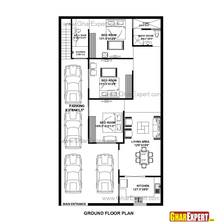 Classy House Plan For 32 Feet By 58 Feet Plot (Plot Size 206 Square Yards 16*54 Size House Map Image