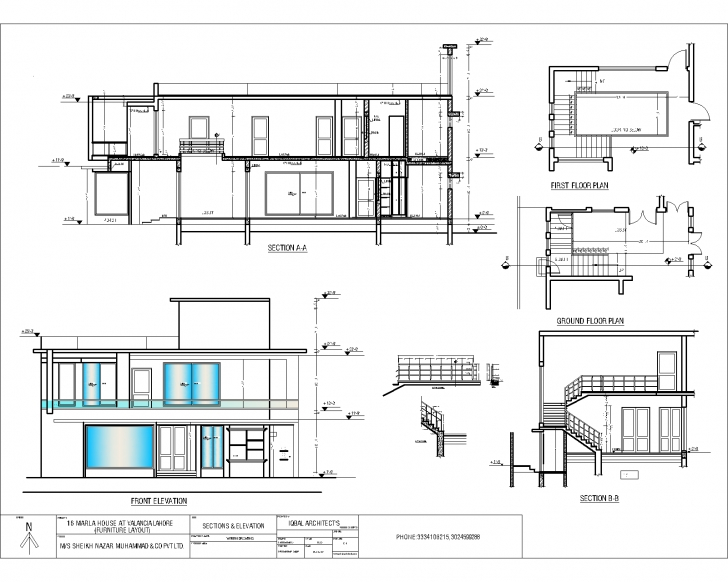 Classy Iqbal Architect's Serviceshouse Elevation & Section - Iqbal House Plan Elevation And Section Drawings Photo