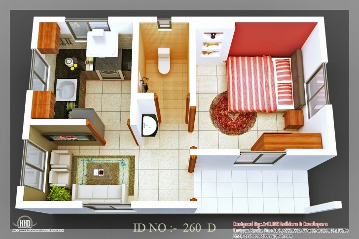 Classy Isometric Views Small House Plans Kerala Home Design Floor 20*30 House Plans 3D Image