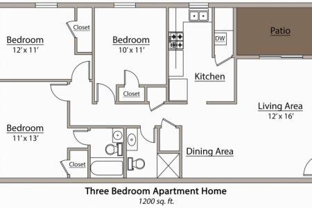 Latest 3 Bedroom Flat Plan