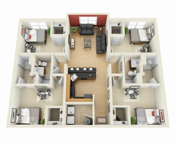 "Classy One Bedroom House Design 3D Luxury 50 Four ""4"" Bedroom Apartment 3D 4 Bedroom House Plans Image"