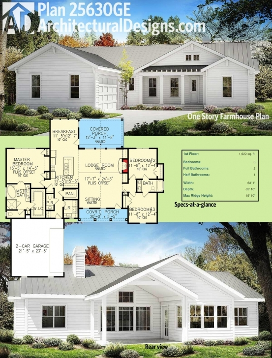 Classy Plan 25630Ge: One Story Farmhouse Plan | Farmhouse Plans, Square Modern Farmhouse Ranch Floor Plans Image