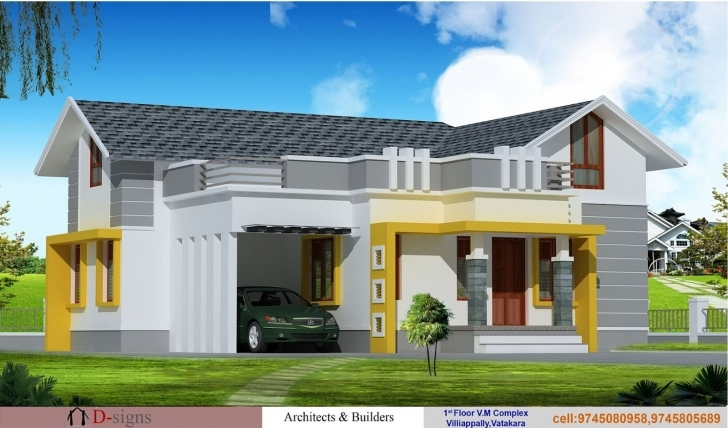 Classy Single Floor Kerala House Elevation - Building Plans Online | #30212 Kerala Home Elevation Single Floor Picture