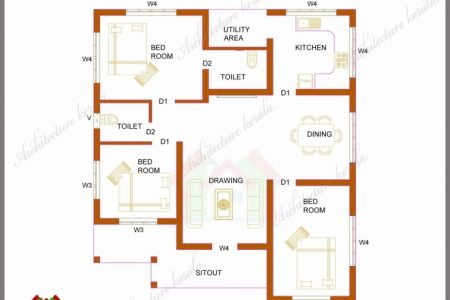 3Bedroom Bungalow Floor Plan In Karala