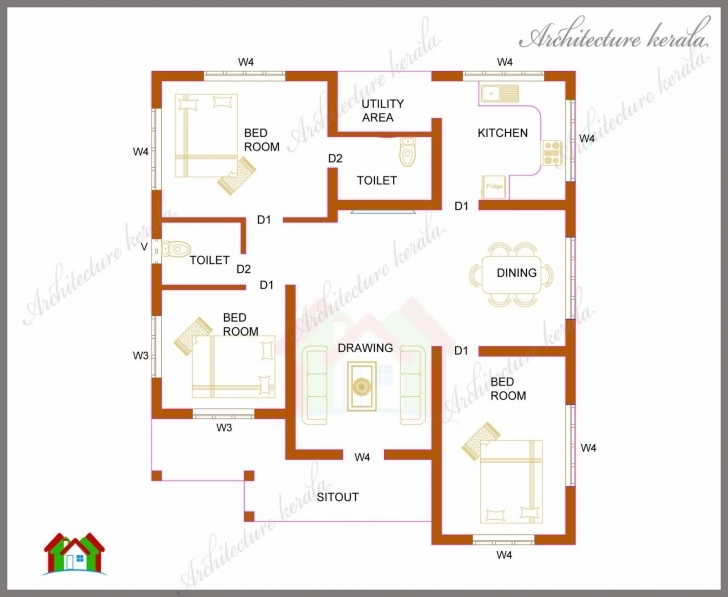 Cool 1000 Sq Ft Kerala House - Google Search | Science | Pinterest 3Bedroom Bungalow Floor Plan In Karala Picture