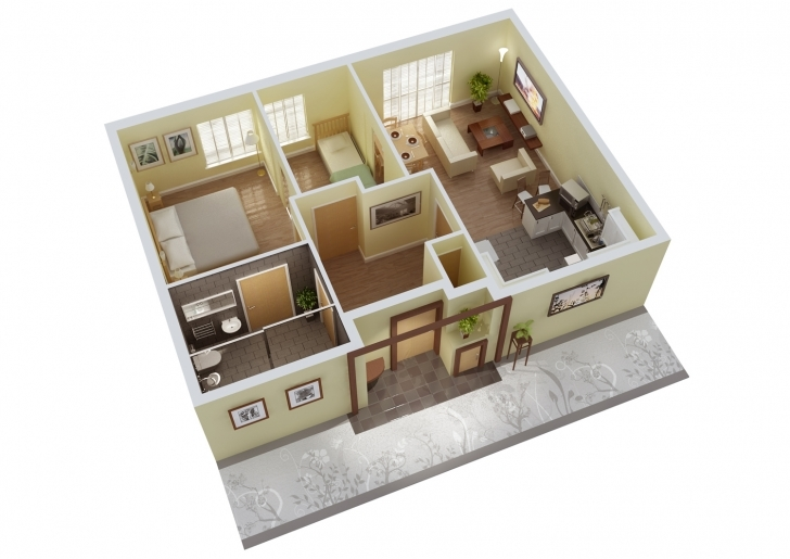 Cool 3 Bedrooms House Plans Designs 3D Home Floor Plan Design 25 More 3 Simple Home Plans 3 Bedrooms In 3D Pic