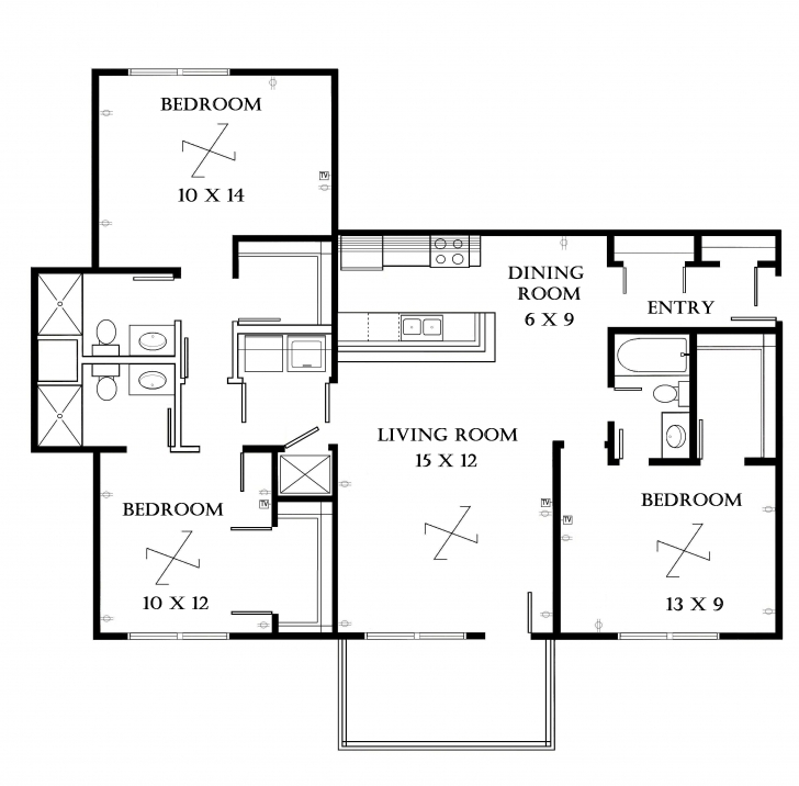 Cool Apartment: Apartment Floor Plans 3 Bedroom 3 Bed Room Flat Plan Image