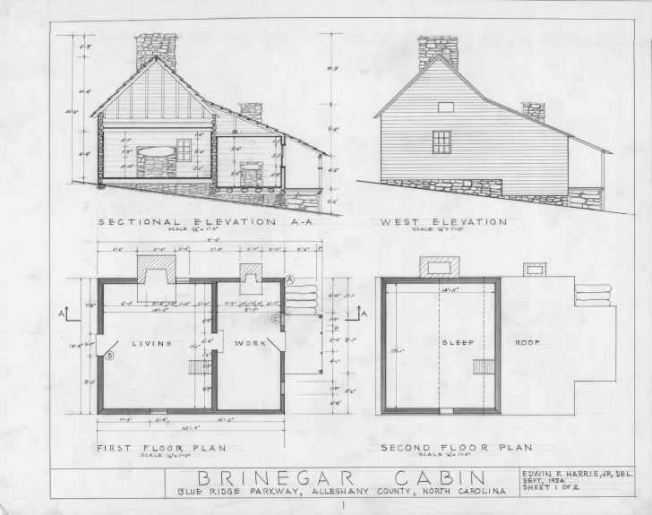 Cool Cross Section West Elevation Floor Plans Brinegar House - Building Residential Building Plan Elevation And Section Image