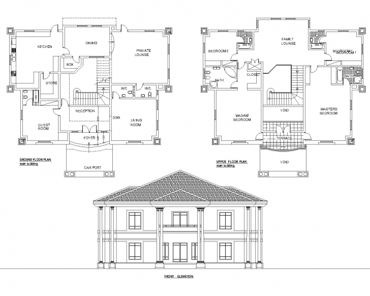 Cool Detached 5Bedroom Duplex Floor Plan(Akz0062) | Arkiemz Nigeria Architectural Floor Plan Design Pic