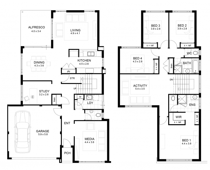 Cool Double Storey 4 Bedroom House Designs Perth | Apg Homes Double Storey House Plans With Balcony Picture