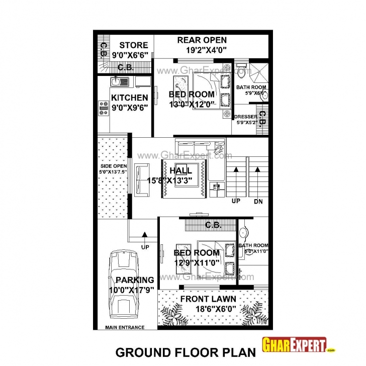 Cool House Plan For 30 Feet By 50 Feet Plot (Plot Size 167 Square Yards 50 Sq Ft House Map Image