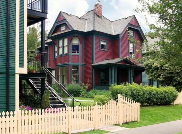 Cool How Much To Paint A House With Red Wall Paint With Blue Accent Ideas Painting Of House With Red Roof Image