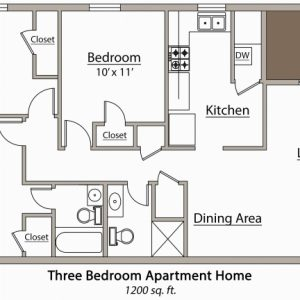 3 Bedroom Flat Plan Drawing