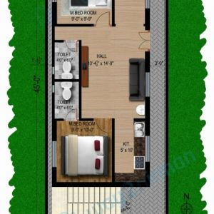 20*45 House Plan South Facing