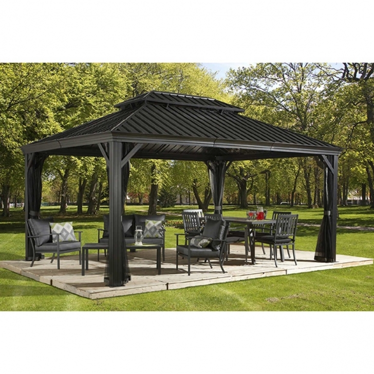 Exquisite 12'x20' Sojag Messina Galvanized-Steel-Roof Sun Shelter Gazebo Hardtop 12X12 Costco Gazebo Pic
