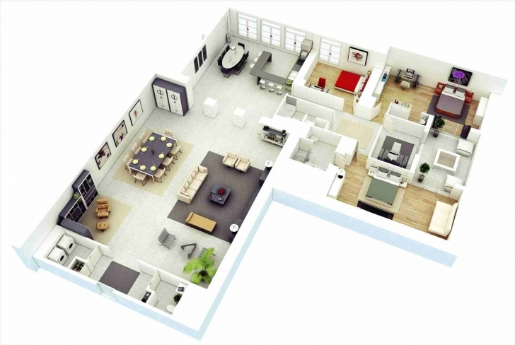 Exquisite 3 Bedroom Bungalow Floor Plans 3D Bungalow House Floor Plans D Modern 3 Bedroom House Floor 3D Plans Picture