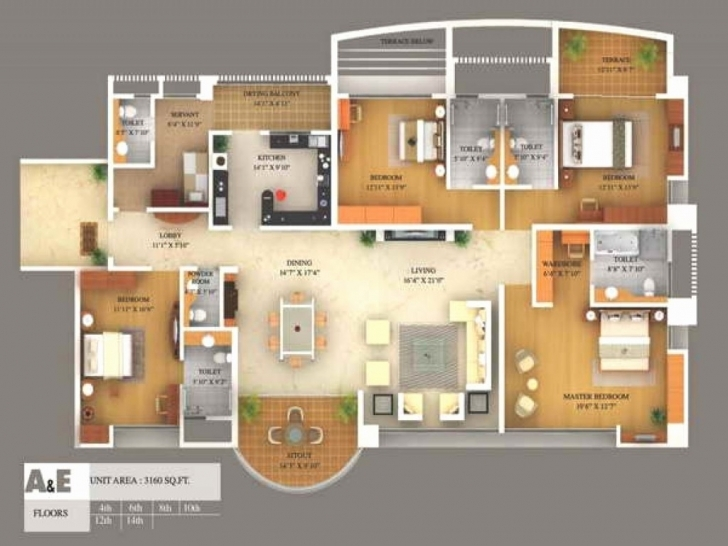 Exquisite 4 Bedroom House Floor Plans 3D | Voidstar 4 Bedroom 1 Story House Plans 3D Picture