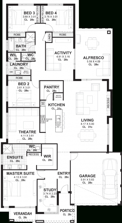 Exquisite 4 Bedroom House Plans & Home Designs Perth | Vision One Homes Four Bedroom House Plan Pic