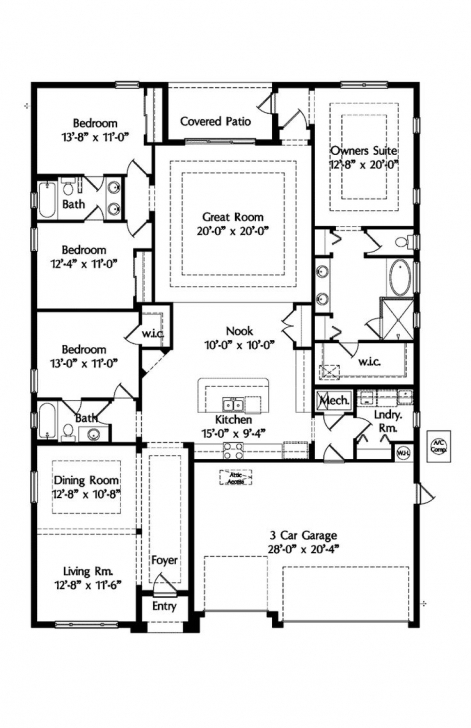 Exquisite 690 Best Ranch House Plans Images On Pinterest | Floor Plans, House Simple House Plan With 4 Bedrooms And Garage Photo