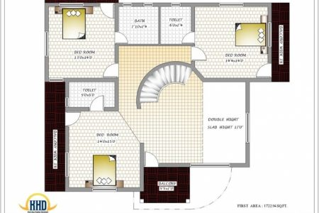 3 Bedroom Bungalow Floor Plan India