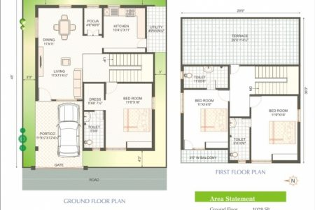 1400 Sq Ft Duplex House Plan