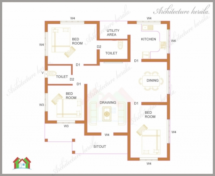 Exquisite House Plans In Kerala With 3 Bedrooms Fresh Three Bedrooms In 1200 Kerala 3 Room House Image