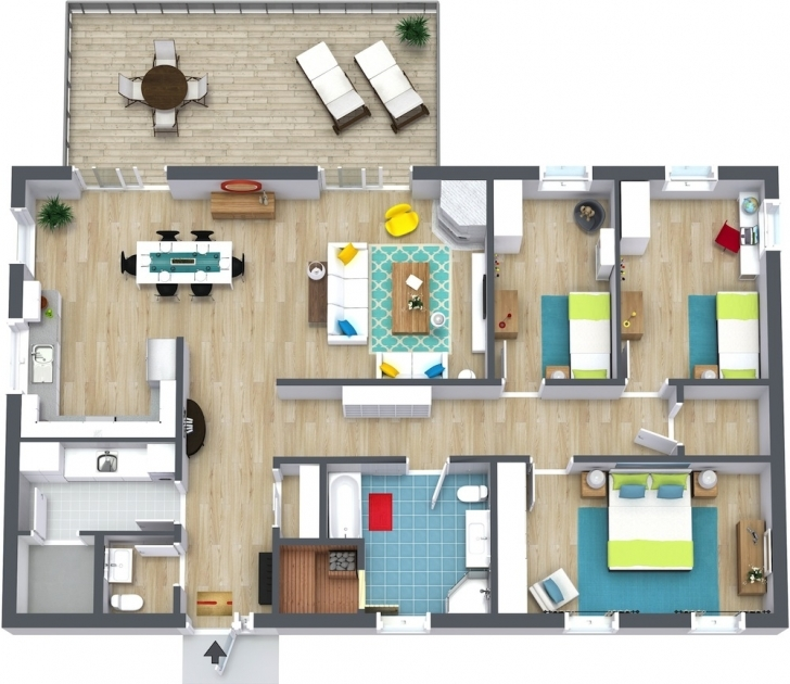 Fantastic 3 Bedroom Floor Plans | Roomsketcher 3 Bedroom Flat Plan Pic