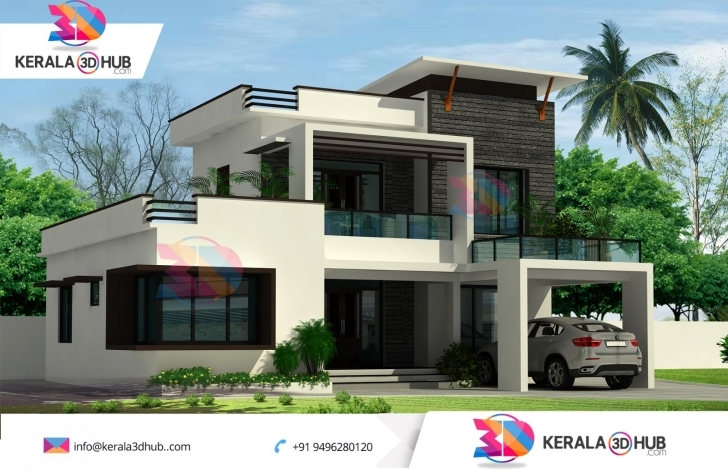 Fantastic Contemporary Style Ultra Modern Home Design Kerala 3D Hub 3D 3D House Plain Pic