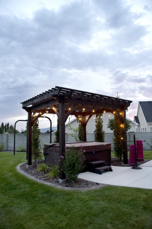Fantastic Heavenly Haven: Diy Hot Tub Pergola, Hammock Trellis | Diy Pergola Steel Gazebo Against House Image