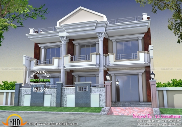 Fantastic Long Front Pillar Home Design - Kerala Home Design And Floor Plans Front House Square Pillar Designs Picture