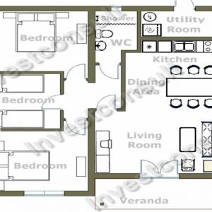 Simple Four Bedroom House Plans With A Verandah