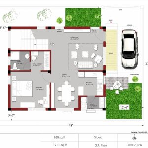 Indian House Plans For 1500 Square Feet East Facing