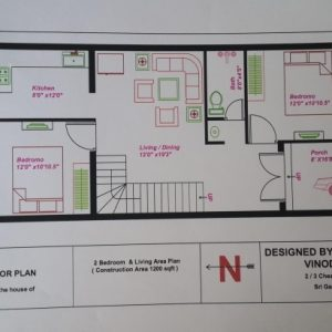 20*50 House Plan North Facing