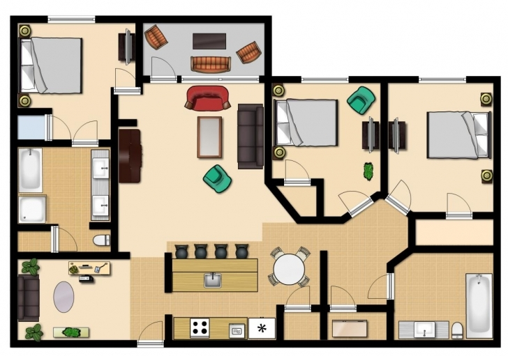 Fascinating 3 Bedroom Premium - Vista Cay Resort Twin 3 Bedroom Flat Plan Pic