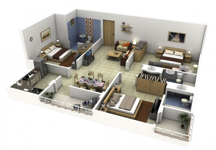 "Fascinating 50 Three ""3"" Bedroom Apartment/house Plans 
