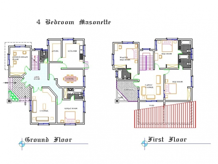 Fascinating Bedroom Duplex Floor Plans - House Plans | #31639 Duplex Floor Plans In Nigeria Picture