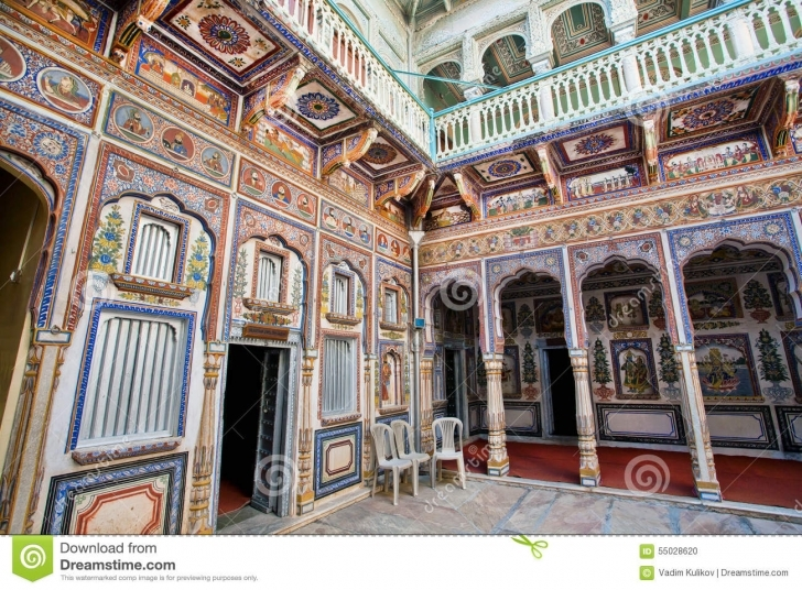 Fascinating Colorful Frescoes Inside An Old Indian House Editorial Image - Image Old Indian House Pic Photo