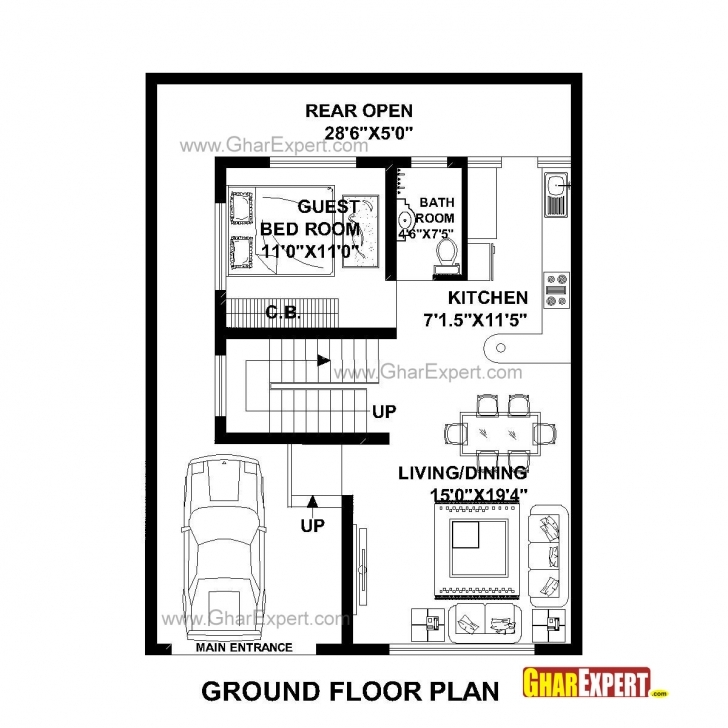 Fascinating House Plan For 30 Feet By 40 Feet Plot (Plot Size 133 Square Yards 28*60 House Plan Image