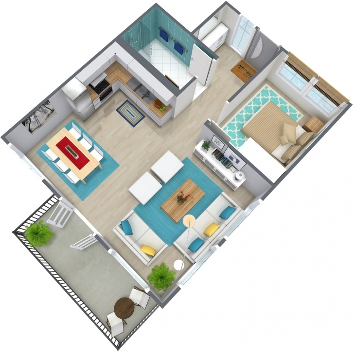 Fascinating One Bedroom Floor Plans | Roomsketcher Twin 3 Bedroom Flat Plan Picture