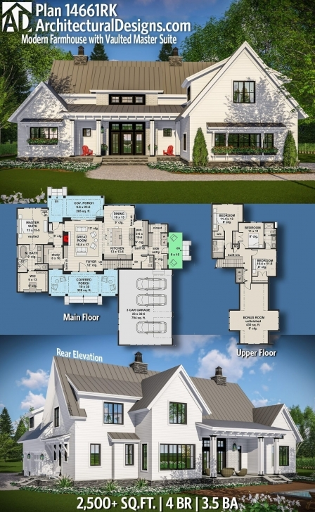 Fascinating Plan 14661Rk: Modern Farmhouse With Vaulted Master Suite | Farmhouse Thornton Builders Modern Farmhouse Plan Photo