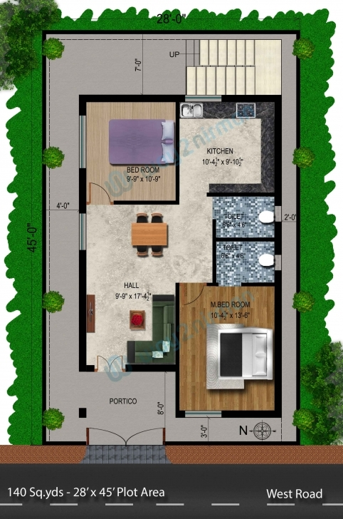 Good 140-Sq.yds@28X45-Sq.ft-West-Face-House-2Bhk-Floor-Plan | Ideas 45 Yards 3D Houses Picture