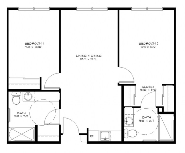 Good 2 Bedroom House Floor Plans Marvelous 17 Elegant Simple Floor Plans Simple Home Plans 2 Bedrooms Photo