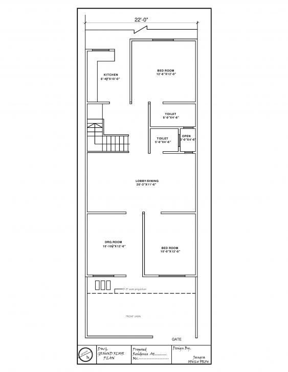 Good 22' X 60' House Plan - Gharexpert West Facing House Plans 15 X 60 Picture