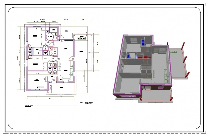 Good 2D And 3D 3 Bedrooms House Plan Drawing Featuring 2D House Plan 2D Civil Drawing Pic