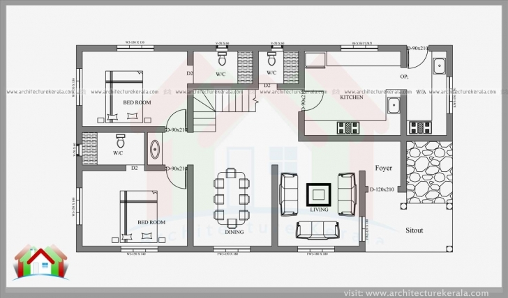 Good Bedroom: 4 Bedroom House Plans Kerala Style Simple Four Bedroom House Plans Image