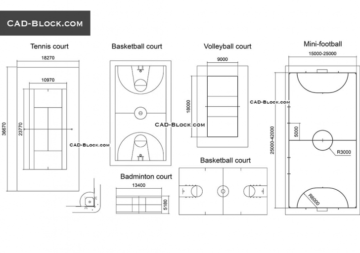 Good Courts, Fields Dimensions Free Autocad File Download, 2D Cad Plans Autocad 2D Plan Free Download Photo
