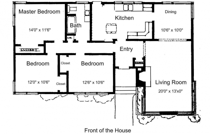 Good Simple Drawing House Plan With 3 Bedrooms Plans On Computer For 2018 Draw 3 Bedroom House Image