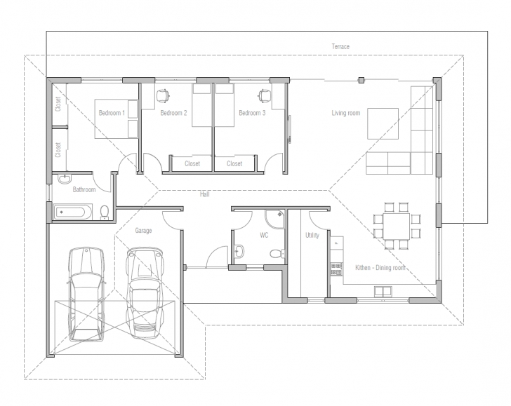 Good Small House Design With Open Floor Plan. Efficient Room Planning Simple 3 Bedroom House Plans With Double Garage Photo